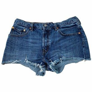 Levi's 501 Shorts Size 31 100% Cotton Booty Blue Frayed Distressed